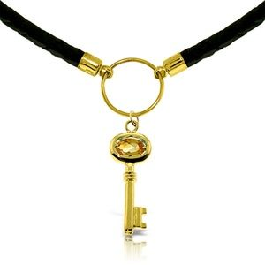 14K SOLID GOLD & LEATHER KEY NECKLACE WITH CITRINE